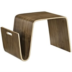 Modway Polaris Magazine Rack End Table in Walnut