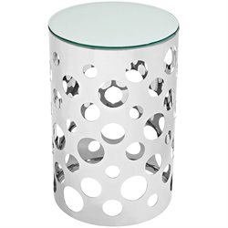 Modway Etch Round Glass Top End Table in Silver