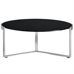Modway Disk Round Glass Top Coffee Table in Black