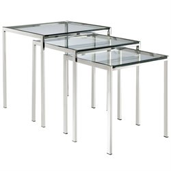 Modway Nimble 3 Piece Glass Top Nesting Table Set in Silver