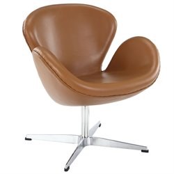 Modway Wing Leather Swivel Accent Chair