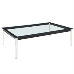 Modway Charles Glass Top Coffee Table in Black