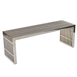 Modway Gridiron Metal Dining Bench in Silver
