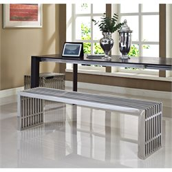 Modway Gridiron 2 Piece Dining Bench Set in Silver