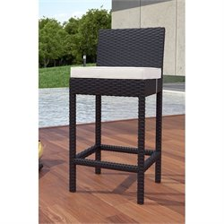 Modway Lift Patio Bar Stool in Espresso and White