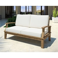 Modway Marina Outdoor Teak Loveseat in Natural and White