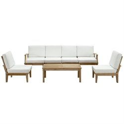 Modway Marina 7 Piece Outdoor Teak Sofa Set in Natural and White