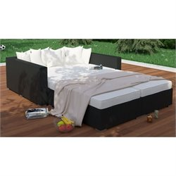 Modway Palisades 4 Piece Outdoor Fabric Daybed in Espresso and White