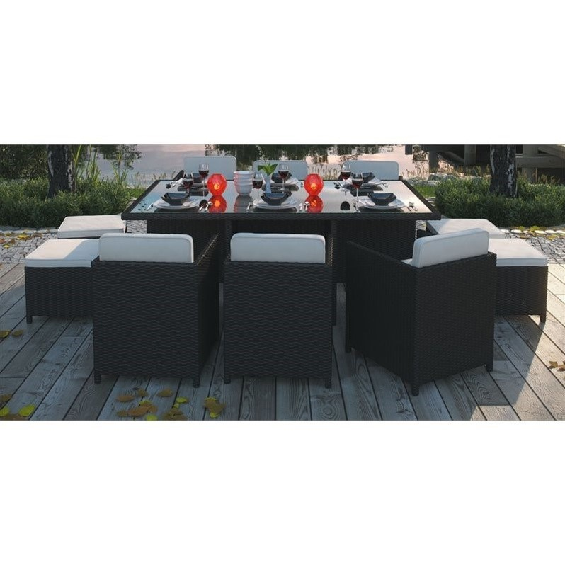 Modway Reversal 11 Piece Outdoor Dining Set in Espresso and White EEI 644 E