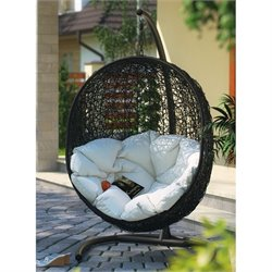 Modway Encase Patio Swing Chair in Espresso and White
