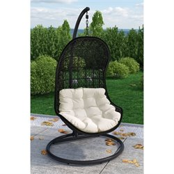 Modway Parlay Patio Swing Chair in Espresso and White