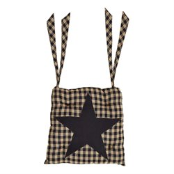 VHC Brands Black Star Patchwork Seat Cushion in Black and Tan
