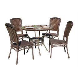 W Unlimited Audrey 5 Piece Patio Dining Set in Dark Brown