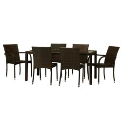 W Unlimited Arenal 7 Piece Patio Dining Set in Dark Brown