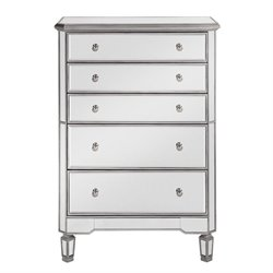 Elegant Lighting Chamberlan 5 Drawer Mirrored Chest