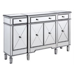 Elegant Lighting Danville 4 Door Mirrored Sideboard in Silver