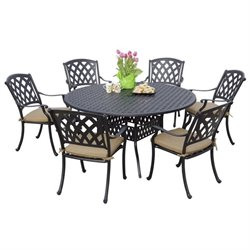 Darlee Ocean View 7 Piece Dining Set in Antique Bronze