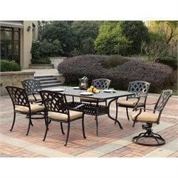 Darlee Ocean View 7 Piece Patio Dining Set in Antique Bronze