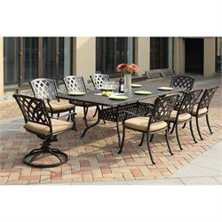 Darlee Ocean View Rectangular 9 Piece Dining Set in Antique Bronze