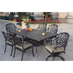 Darlee Elisabeth 7 Piece Patio Dining Set in Antique Bronze