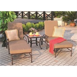 Darlee Malibu 3 Piece Patio Chaise Lounge Set in Antique Bronze