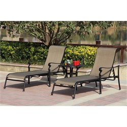 Darlee Monterey 3 Piece Patio Chaise Lounge Set in Antique Bronze