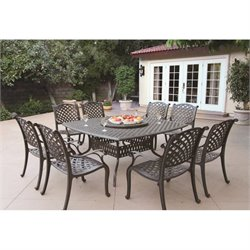 Darlee Nassau 9 Piece Square Patio Dining Set in Antique Bronze
