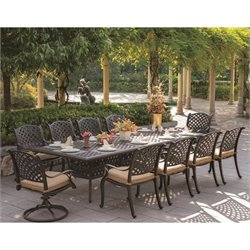 Darlee Nassau 11 Piece Patio Dining Set in Antique Bronze