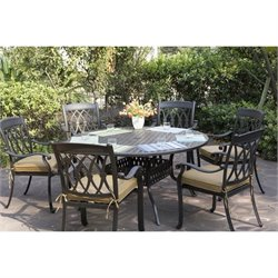 Darlee San Marcos 7 Piece Round Patio Dining Set in Antique Bronze