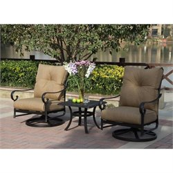 Darlee Santa Anita 3 Piece Patio Bistro Set in Antique Bronze
