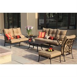 Darlee Santa Anita 6 Piece Patio Sofa Set in Antique Bronze