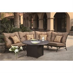 Darlee Santa Anita 5 Piece Patio Fire Pit Sofa Set in Antique Bronze