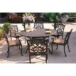 Darlee Santa Monica 7 Piece Round Patio Dining Set in Antique Bronze