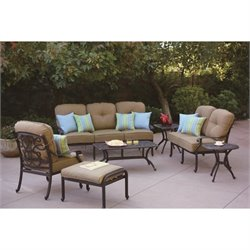 Darlee Santa Monica 7 Piece Patio Sofa Set in Antique Bronze