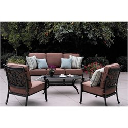 Darlee St. Cruz 4 Piece Patio Sofa Set in Antique Bronze
