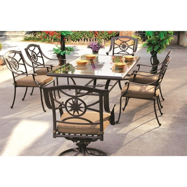 Darlee ten star 7 piece patio dining set in antique bronze for Outdoor dining sets for 10