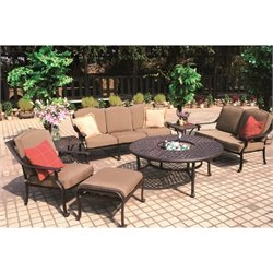 Darlee Ten Star 7 Piece Patio Sofa Set in Antique Bronze