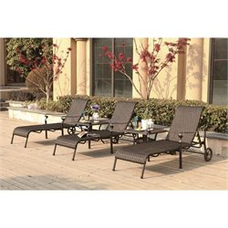 Darlee Victoria 5 Piece Wicker Patio Chaise Lounge Set in Espresso