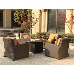Darlee Vienna 5 Piece Wicker Patio Fire Pit Sofa Set in Espresso