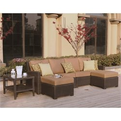Darlee Vienna 5 Piece Wicker Patio Sofa Set in Espresso