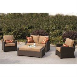 Darlee Vienna 4 Piece Wicker Patio Sofa Set in Espresso