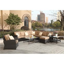 Darlee Vienna 9 Piece Wicker Patio Sofa Set in Espresso