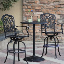 Darlee Florence 3 Piece Patio Pub Set with Seat Cushion