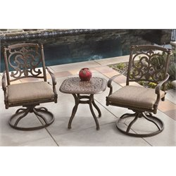 Darlee Santa Barbara 3 Piece Patio Bistro Set with Seat Cushion