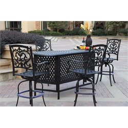 Darlee Santa Barbara 5 Piece Patio Pub Set with Seat Cushion