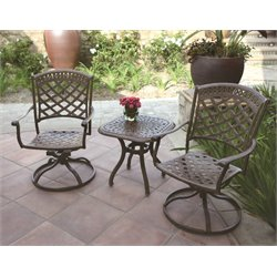 Darlee Sedona 3 Piece Patio Bistro Set with Seat Cushion