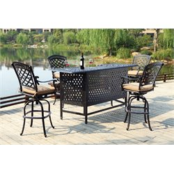 Darlee Sedona 5 Piece Patio Pub Set with Seat Cushion