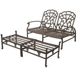 Darlee Catalina 2 Piece Adjustable Patio Loveseat Set in Bronze