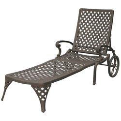 Darlee Nassau Patio Chaise Lounge in Antique Bronze