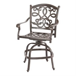 Darlee Santa Monica Outdoor  Stool in Antique Bronze (Set of 2)